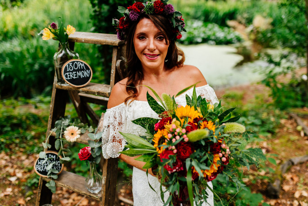 bride with colourful bouquet