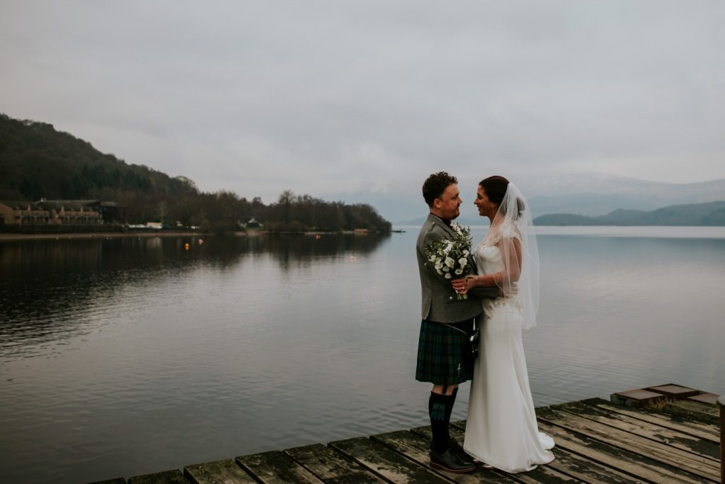 bride and groom by Loch Lomond