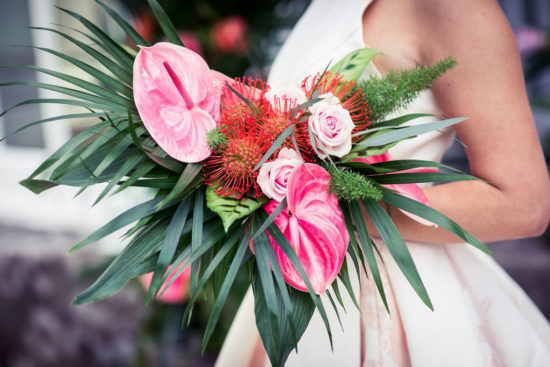 brightly coloured tropical flower bouquet